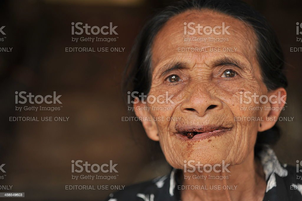 Old woman in Sumba, Indonesia stock photo