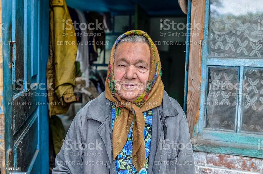 "Old woman living in the Chernobyl ""Dead Zone"" stock photo"