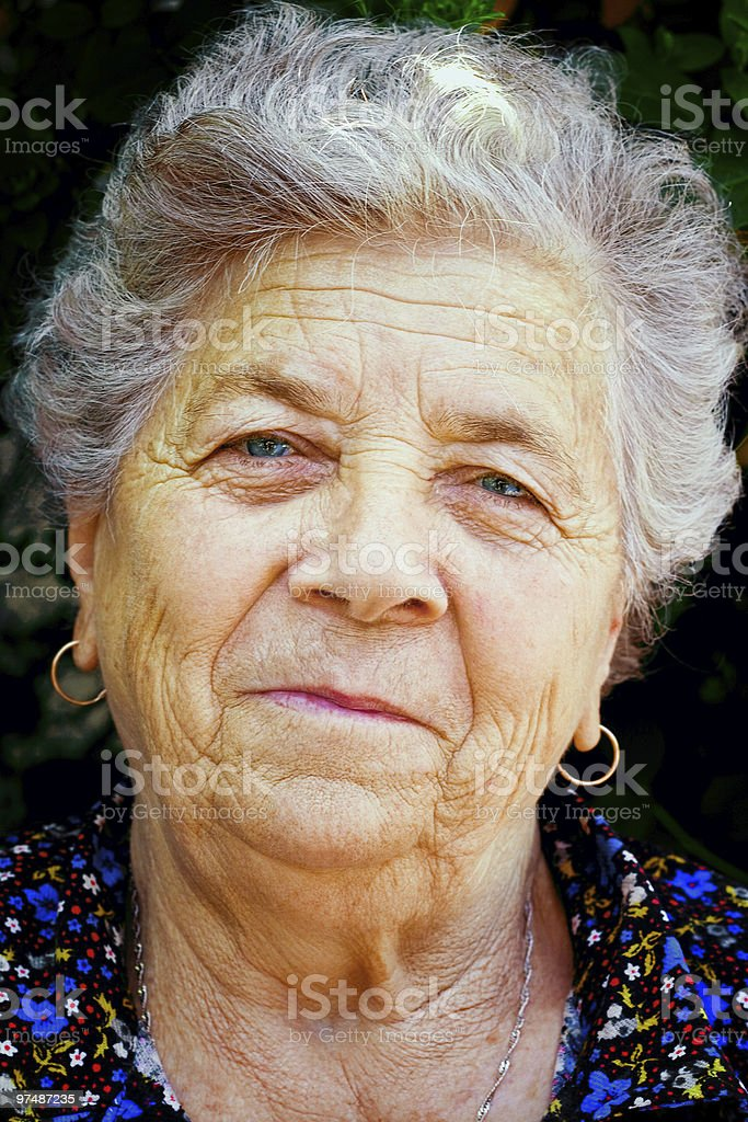 Old woman smiling royalty-free stock photo