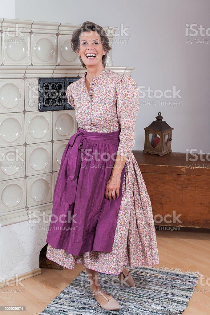 Old woman with Elan stock photo