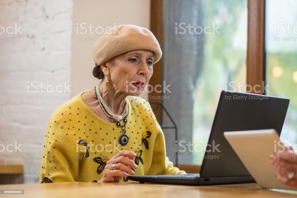 Old woman with laptop. stock photo