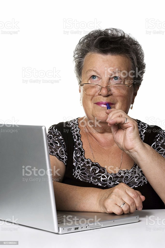 old woman with modern laptop royalty-free stock photo