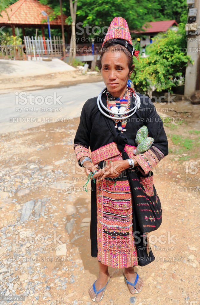 Old woman-Akha Pala hill tribe. Pak Nam Noy-Phongsali province-Laos. 3648 stock photo