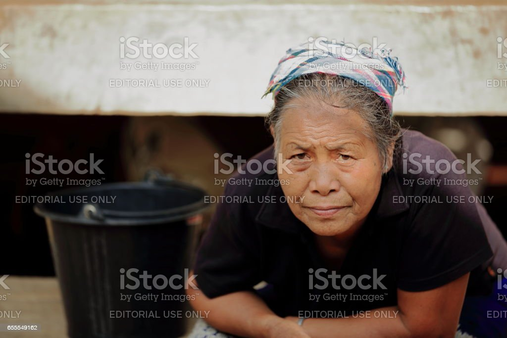 Old woman-Akha tribe. Nam Ha conservation area-Luang Namtha province-Laos. 3470 stock photo