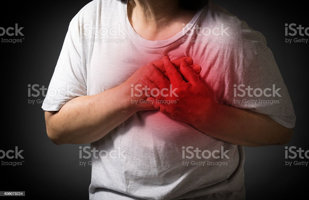 Old women holding his heart in pain stock photo