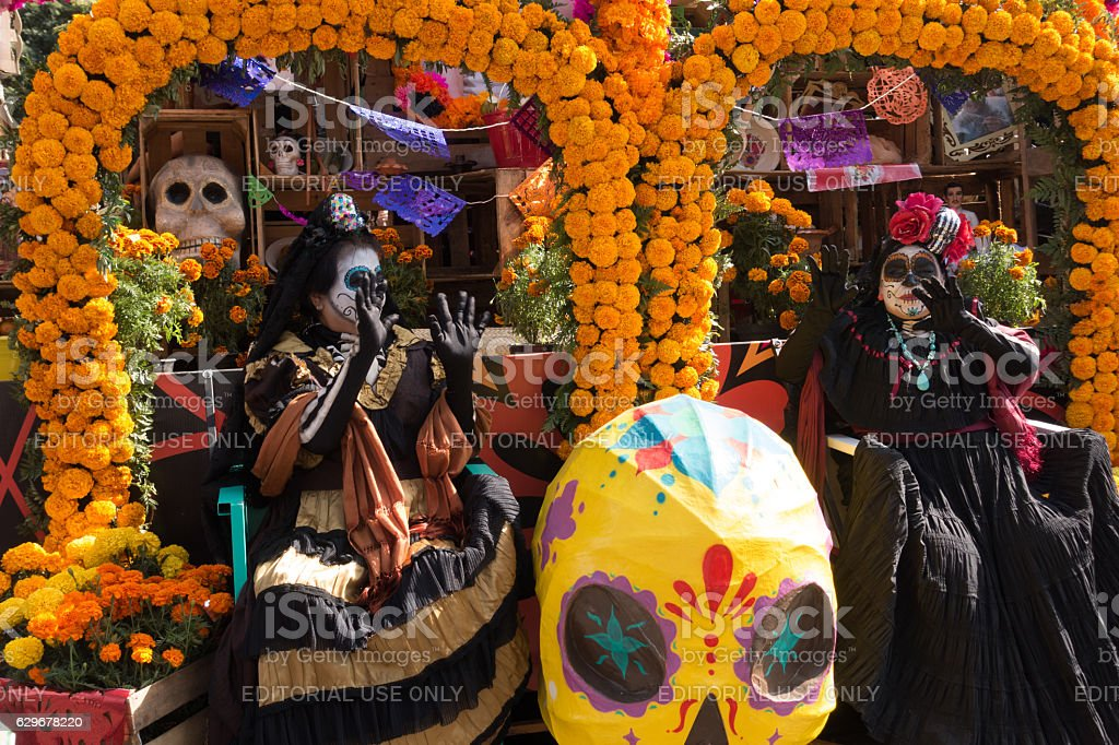Old Women Marigold Flower Parade Floats Day of the Dead stock photo