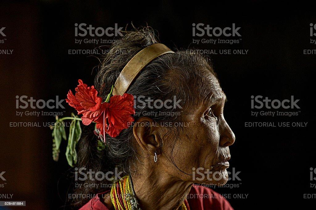Old women of Mentawai stock photo