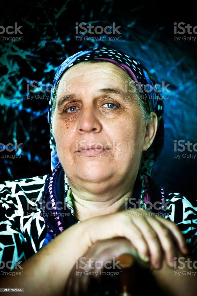 old women, woman, blue eyes stock photo