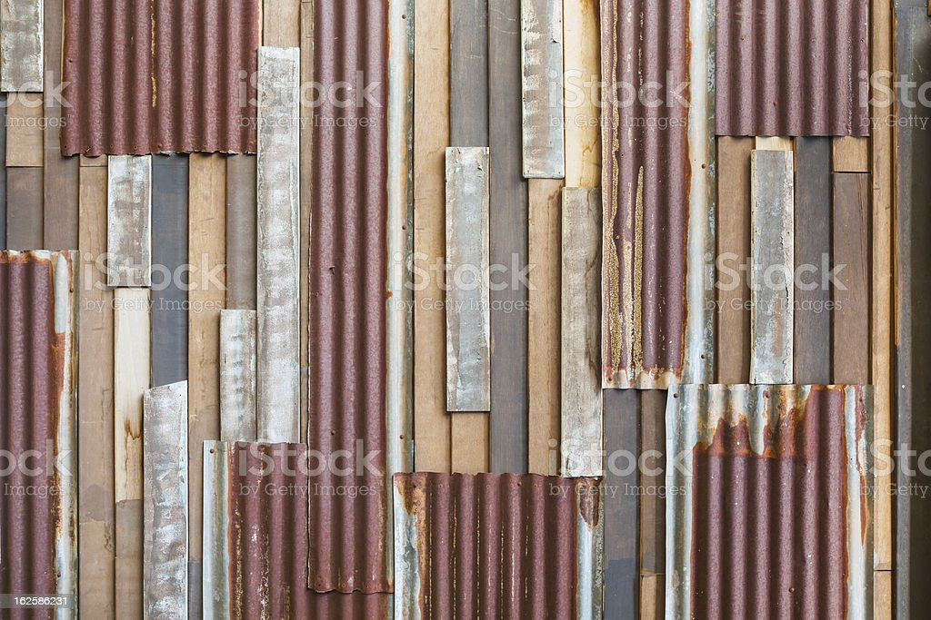 Old wood and rusty roofing sheet wall royalty-free stock photo