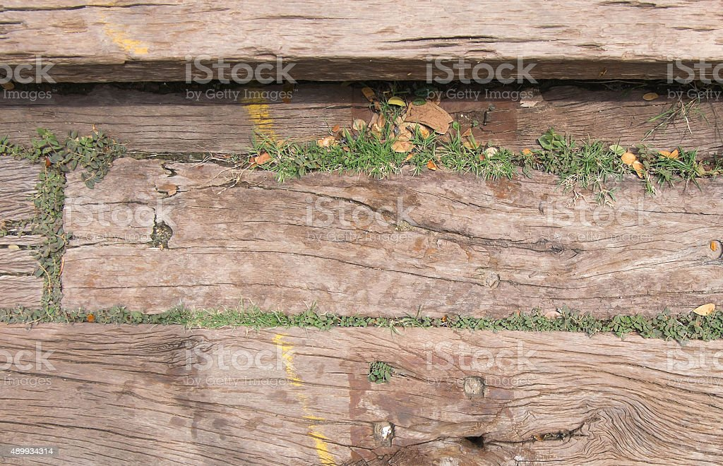 Old wood background with grass stock photo