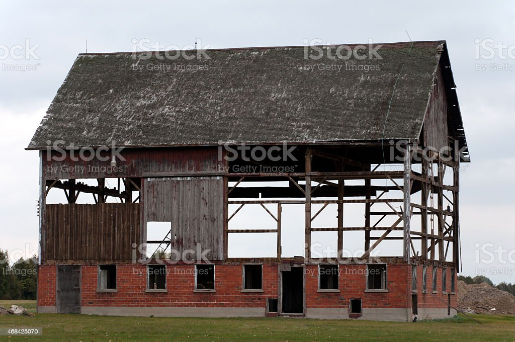Old Wood Barn Being Dismantled stock photo