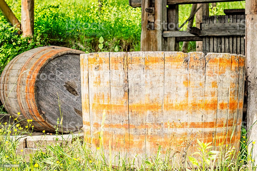 Old Wood Barrel stock photo
