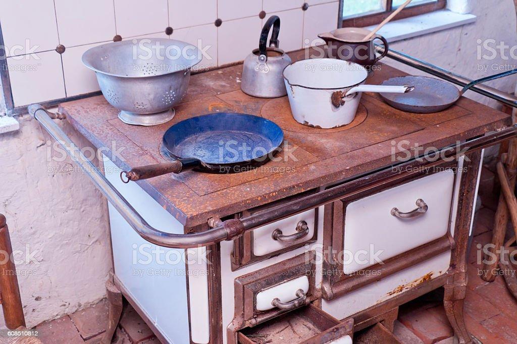 Old Wood Burning Stove stock photo