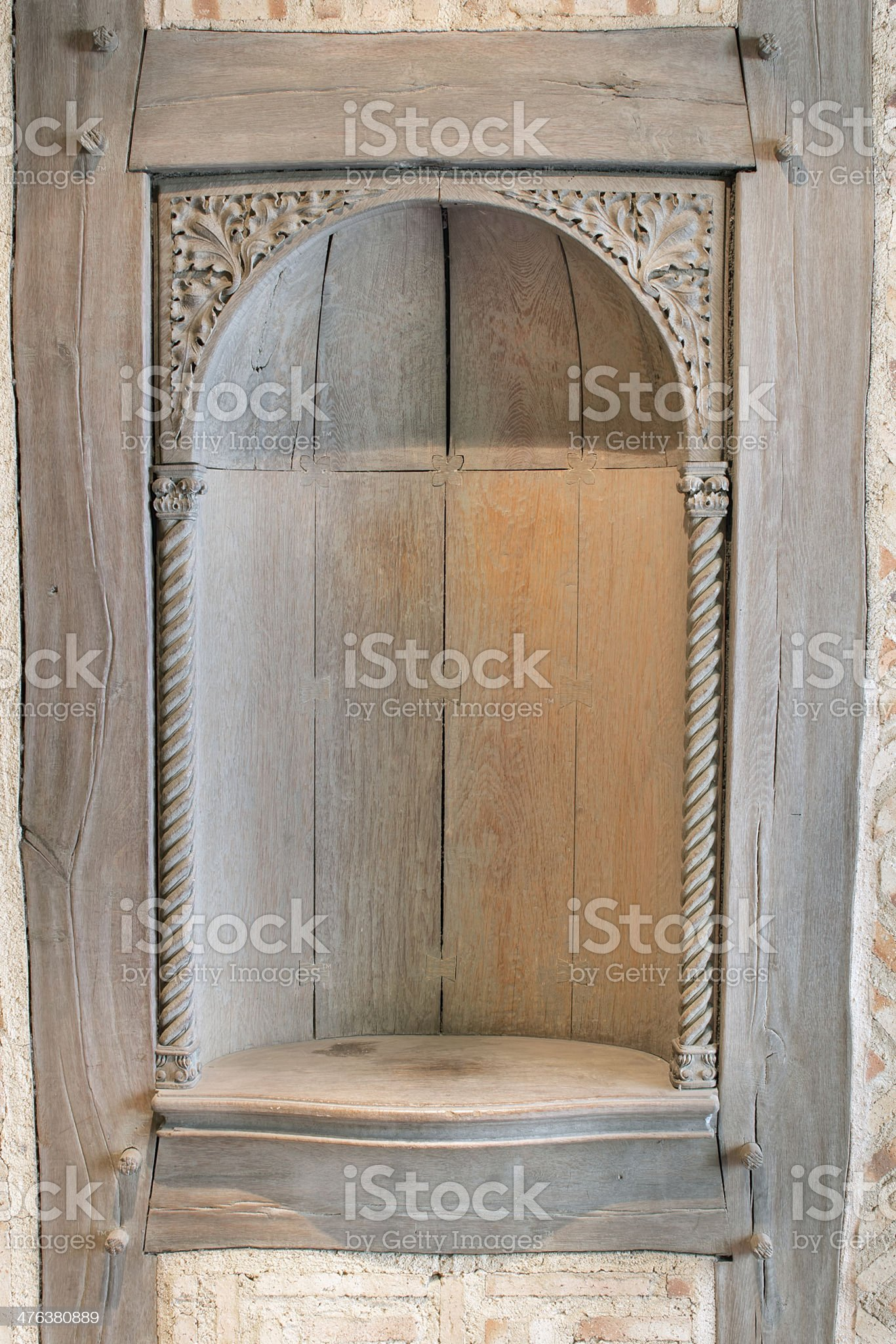 Old Wood Carved Exterior Wall Niche royalty-free stock photo