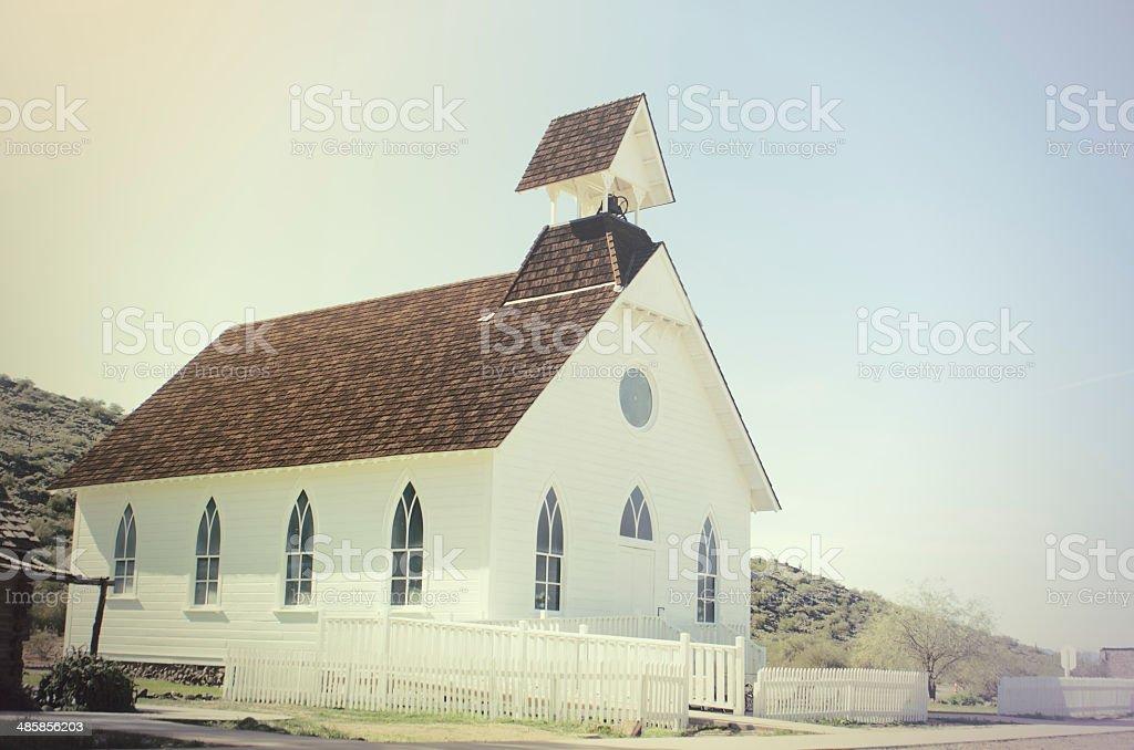Old wood church in Arizona, USA stock photo