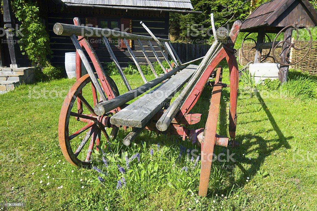 old wood coach wheel stock photo