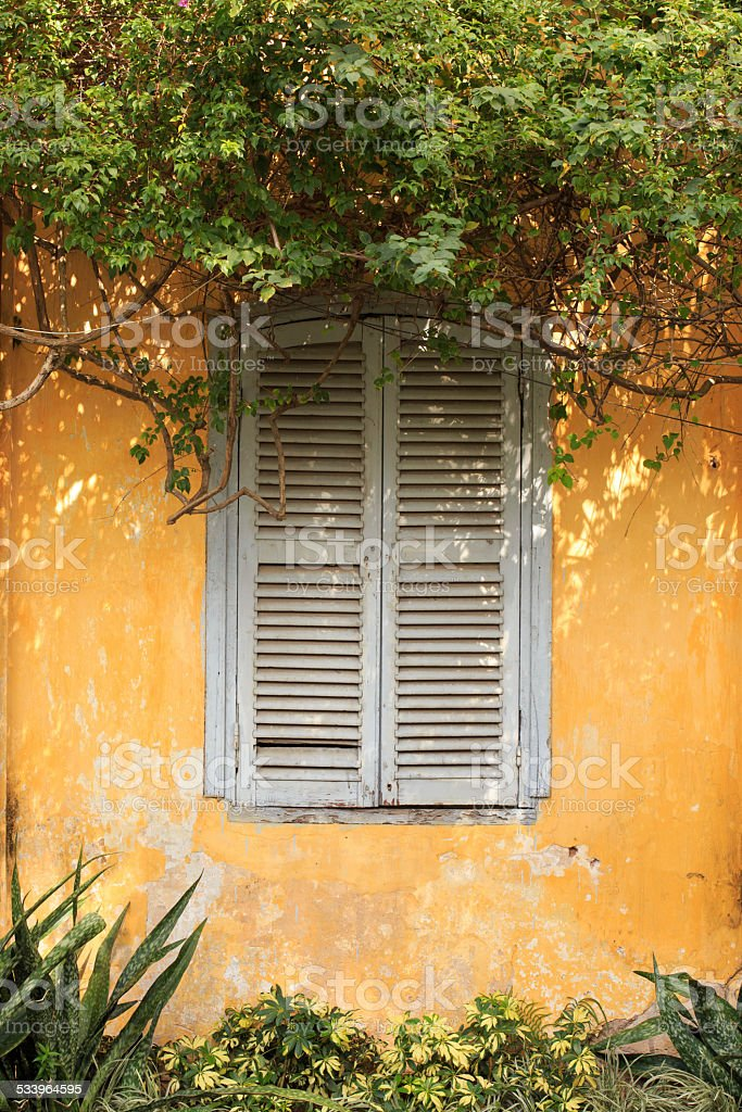 Old wood door with yellow wall in VietNam royalty-free stock photo
