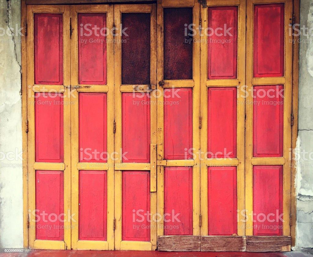 Old Wood Doors and Key lock stock photo