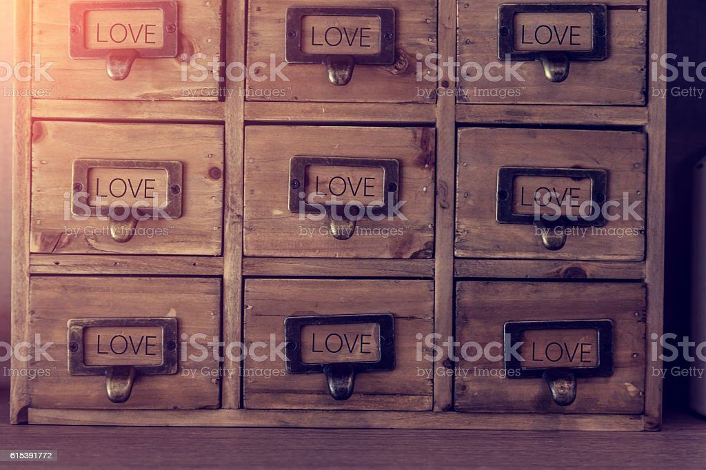 old wood furniture with drawer stock photo