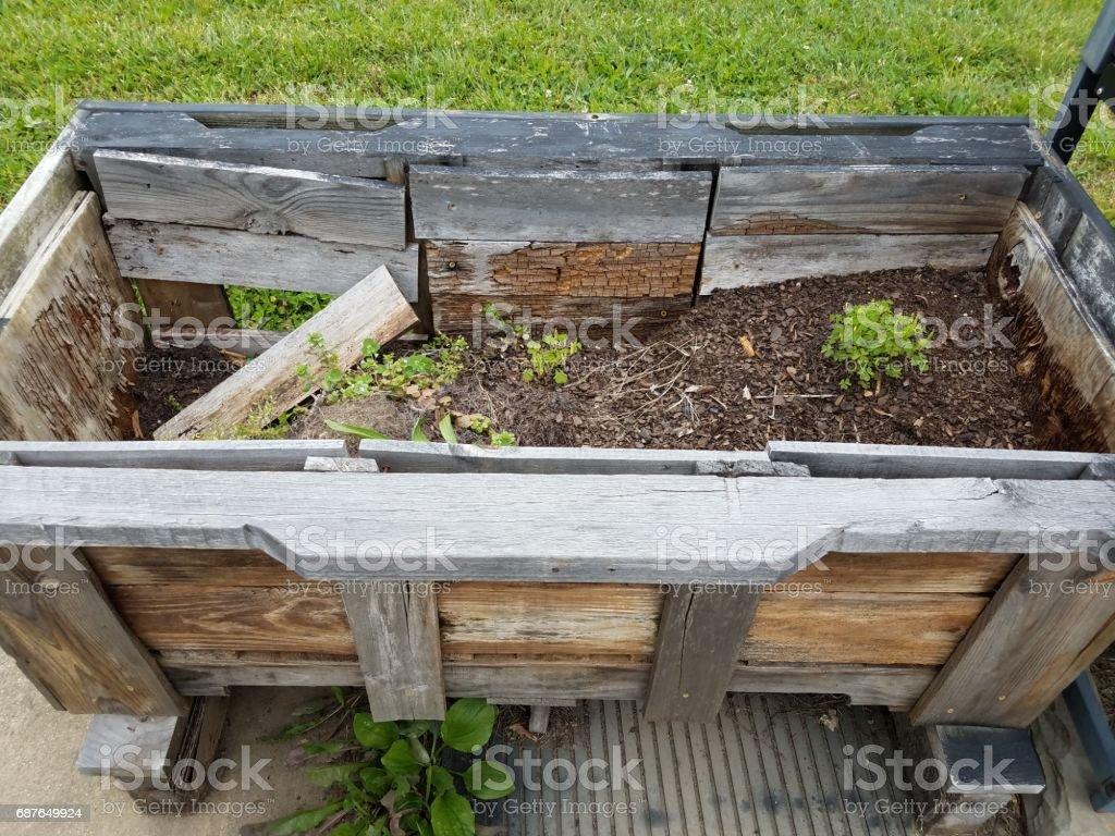 old wood garden planter stock photo