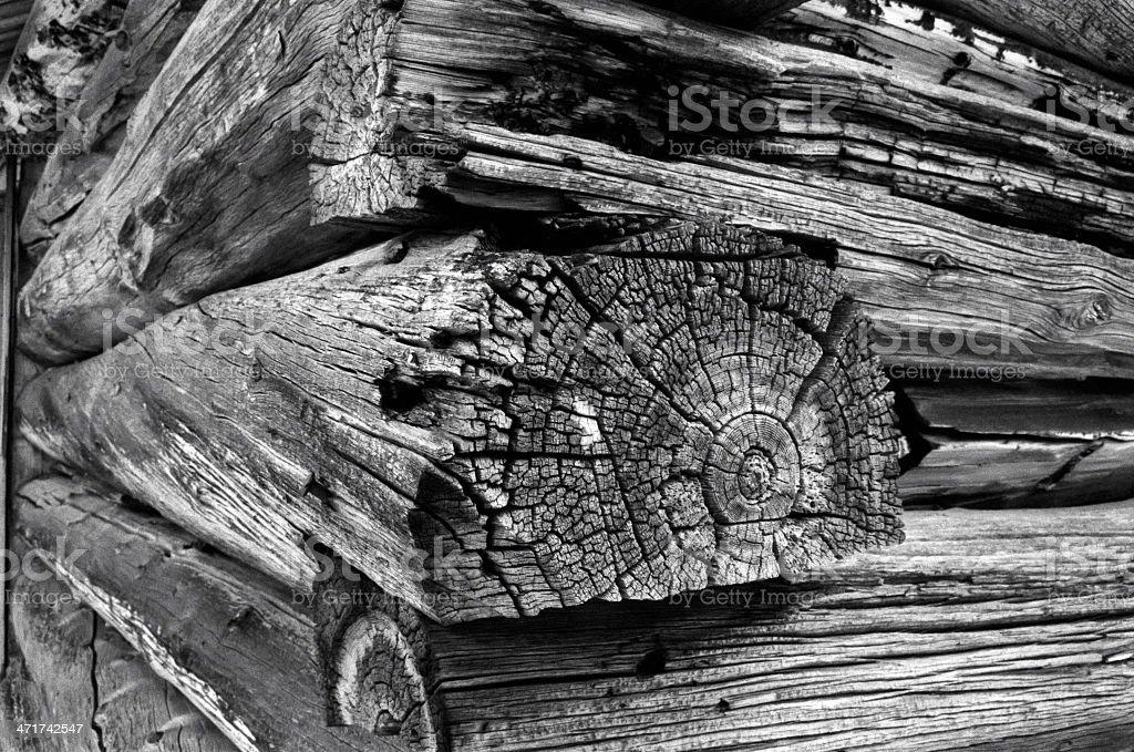 Old wood grain log cabin stock photo