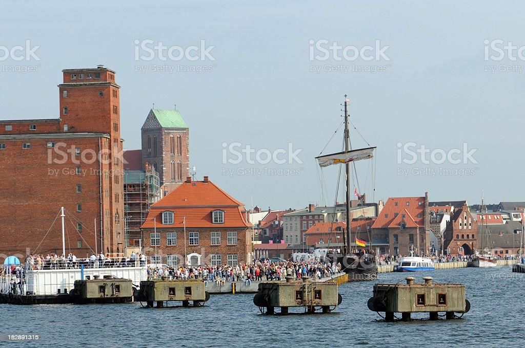 old wood harbor of Wismar (Germany) stock photo