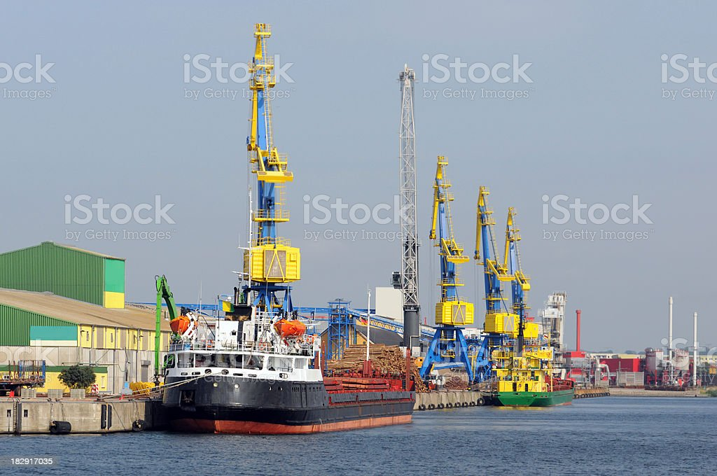 old wood harbor of Wismar (Germany) stock photo