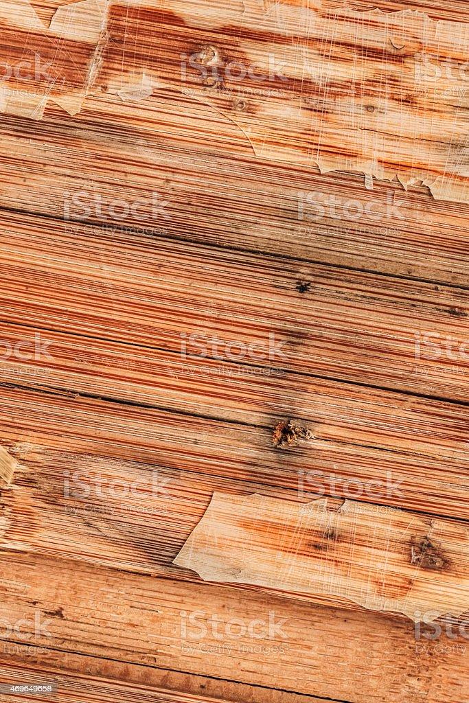 Old Wood Laminate Flooring Varnished Cracked Scratched Peeled Grunge Texture stock photo
