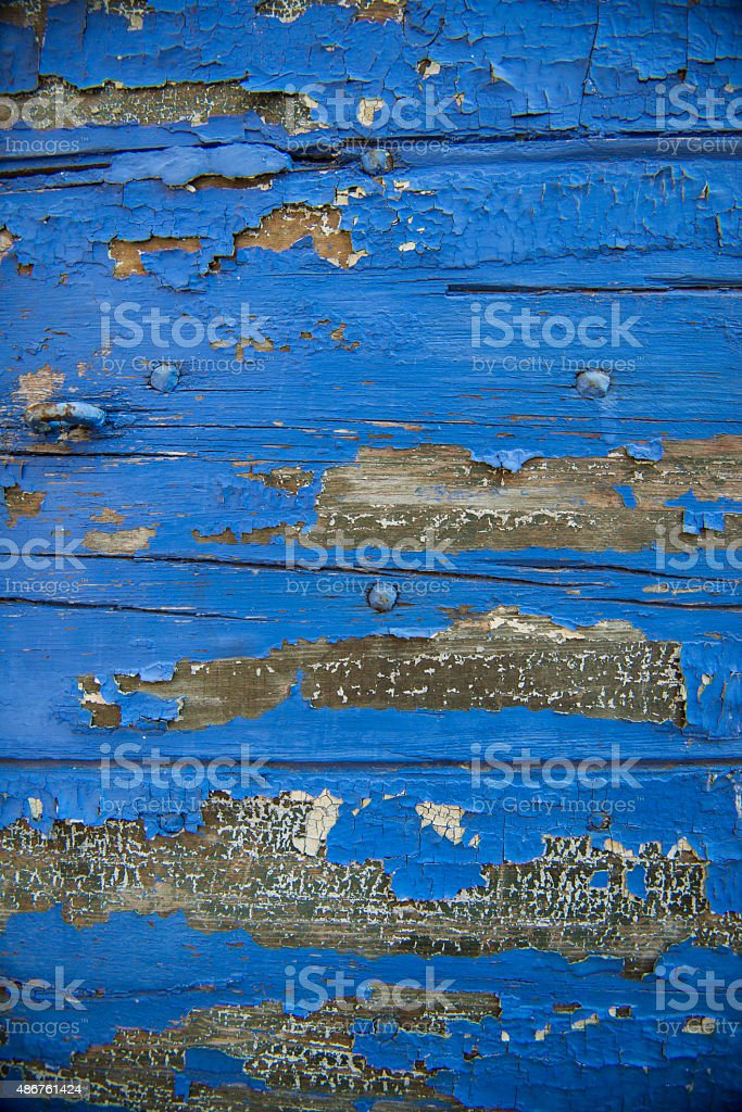 Old wood painted and cracked stock photo