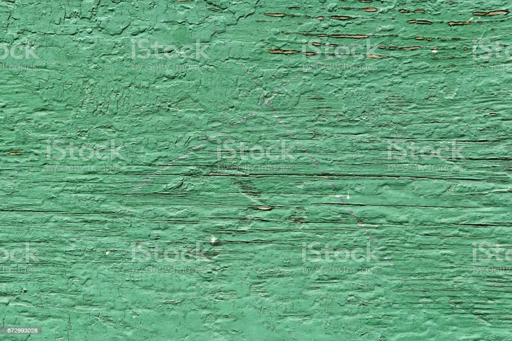 Old wood painted with enamel paint green stock photo