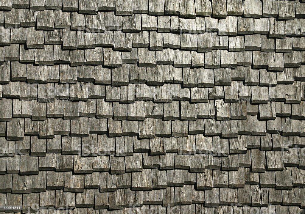 Old wood shingled roof background royalty-free stock photo