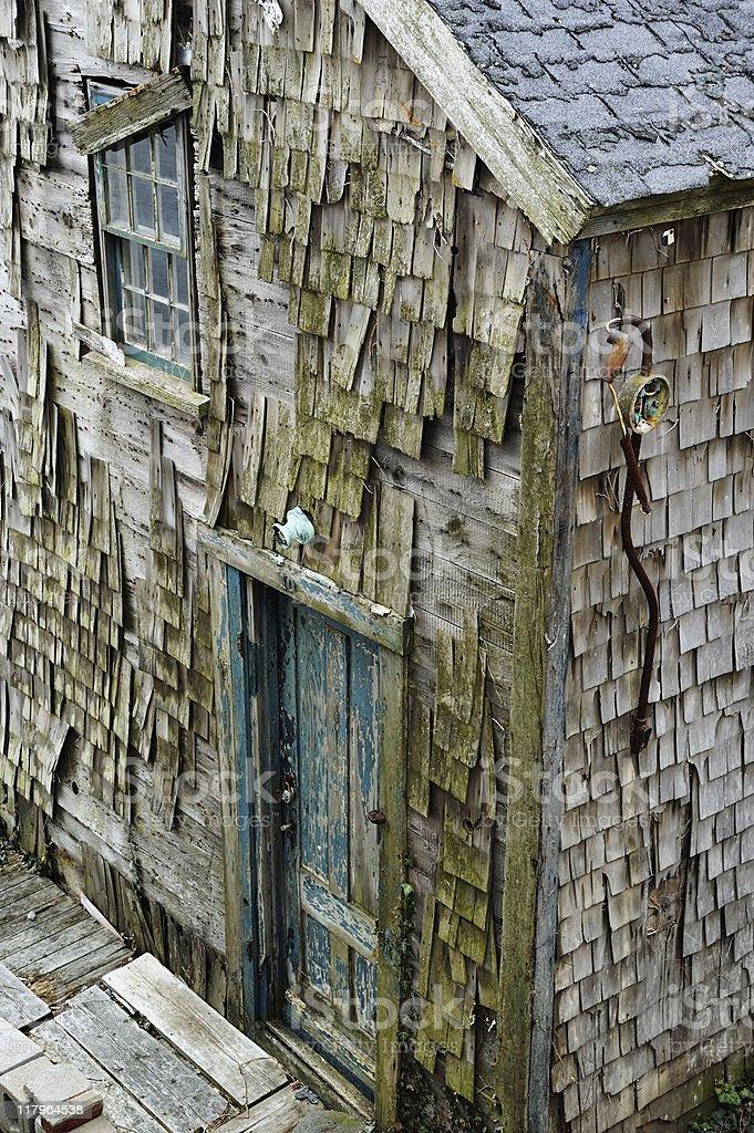 Old wood shingles house stock photo