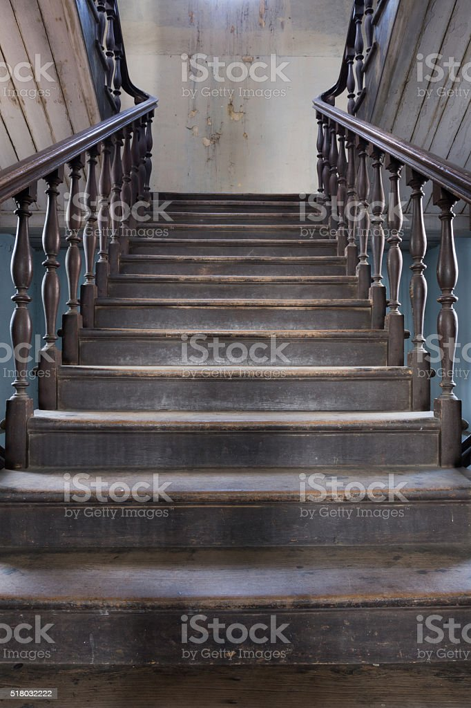 old wood stair inside home stock photo