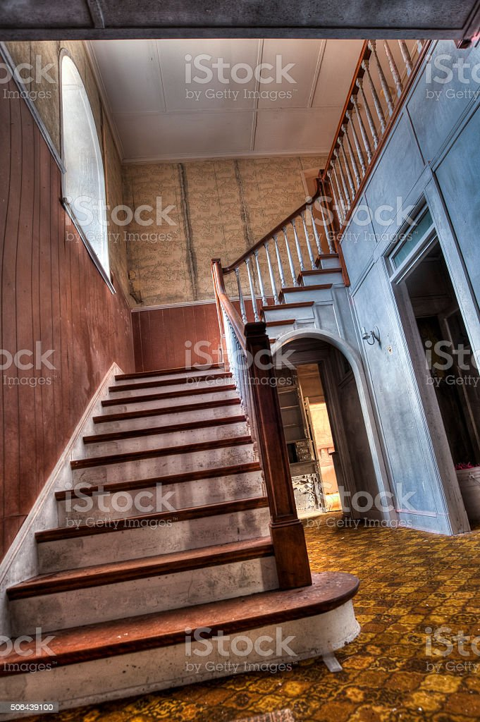 Old wood Stairs stock photo