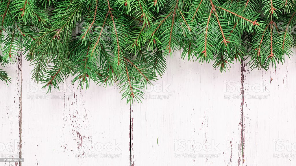 Old wood texture with snow and fir tree christmas background stock photo