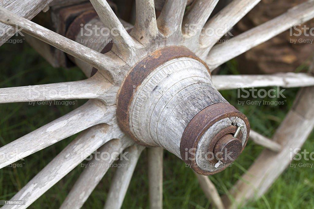 Old Wood Wagon Wheels royalty-free stock photo