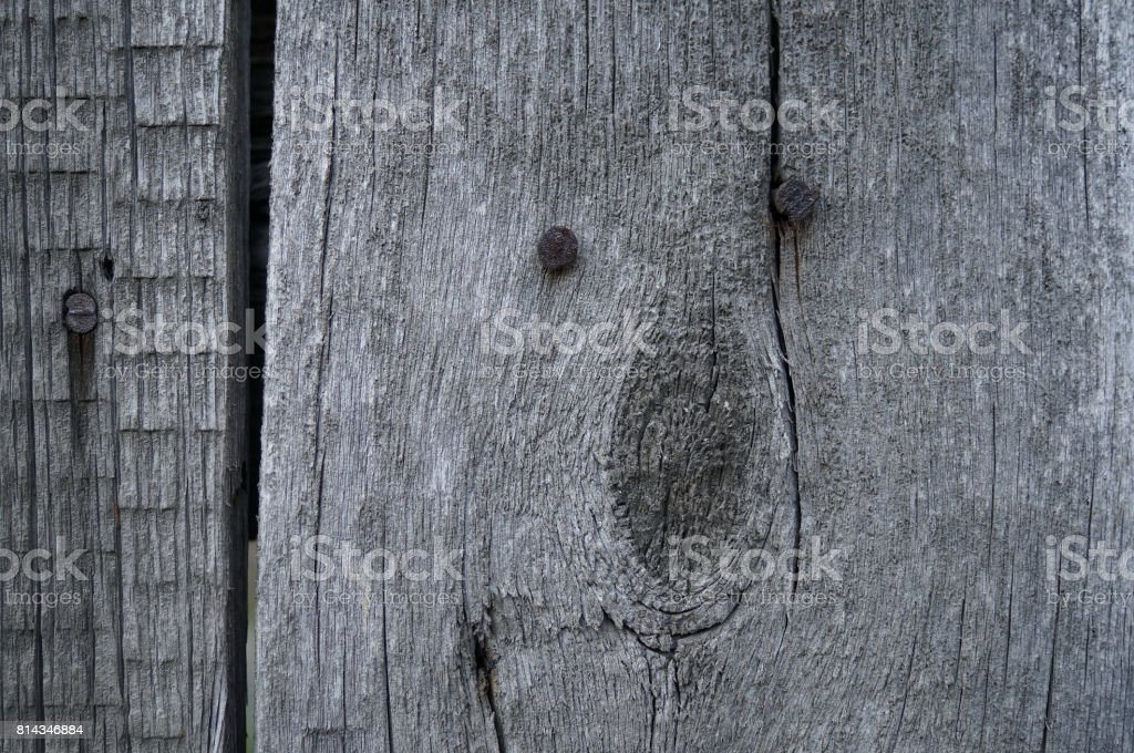 Old wood with rusty nails texture background stock photo
