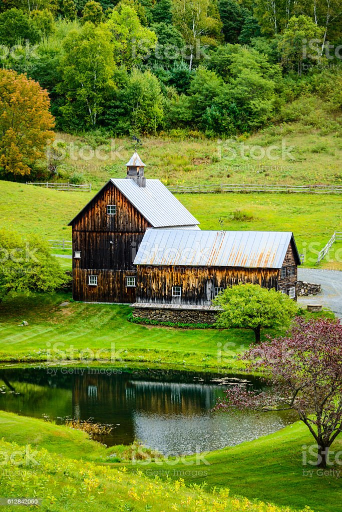 Old wooden barn in rural countryside stock photo
