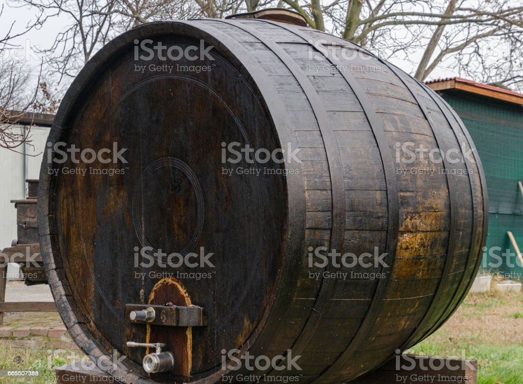 Old wooden barrel stock photo