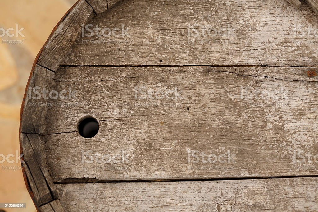 Old wooden barrel  Weathered wood texture backgrounds stock photo