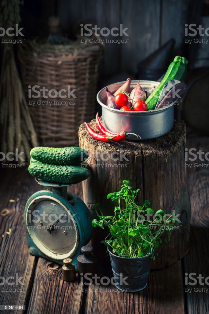 Old wooden basement with homemade supplies for winter stock photo
