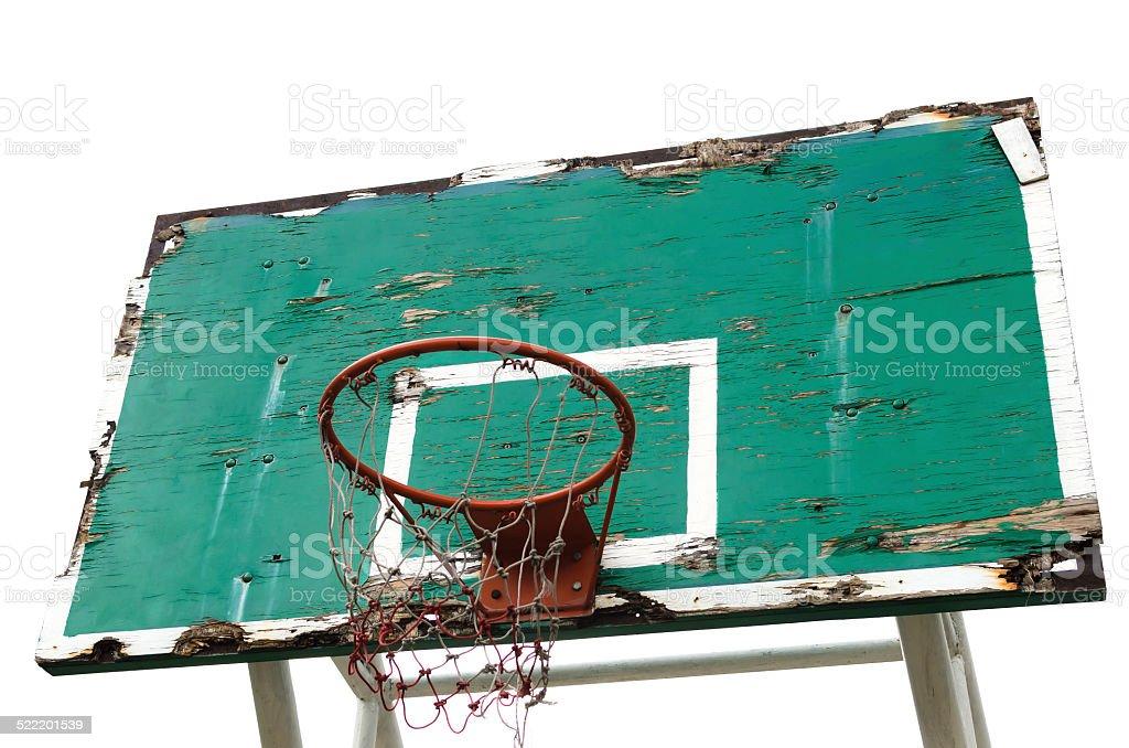 Old wooden basketball basket stock photo