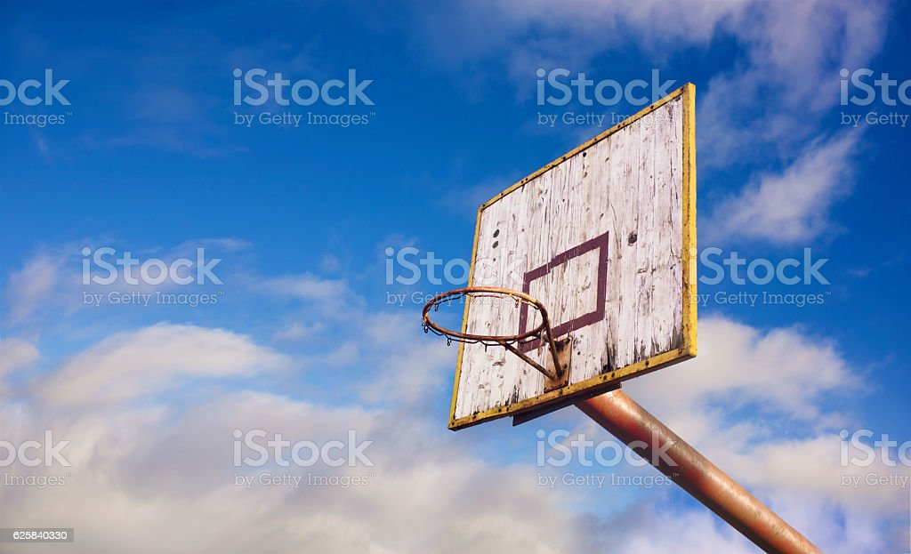 Old wooden basketball board stock photo