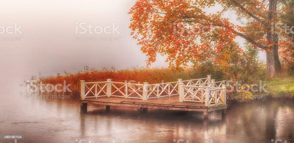 Old wooden beautiful jetty stock photo