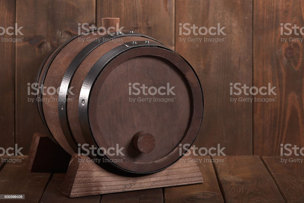 old wooden beer barrel stock photo