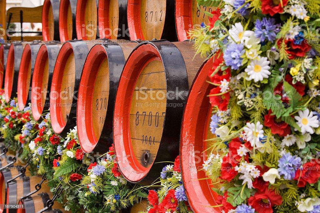 Old wooden beer kegs royalty-free stock photo