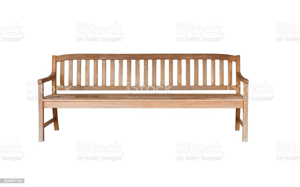 Old wooden bench isolated on white stock photo