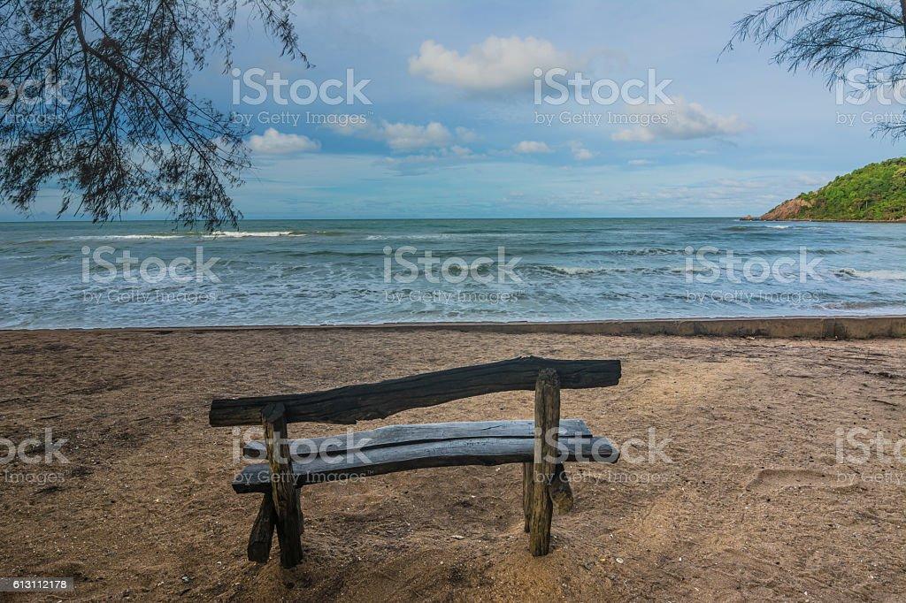 Old wooden benches, Chanthaburi, Thailand. stock photo