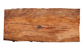 Old wooden billboard isolated on white background.
