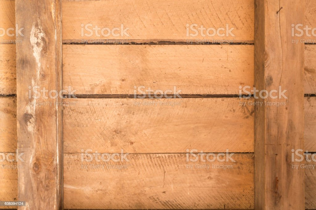 Old wooden boards with beams and horizontal arrangement stock photo
